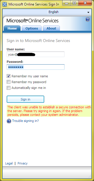 Sign in tool error