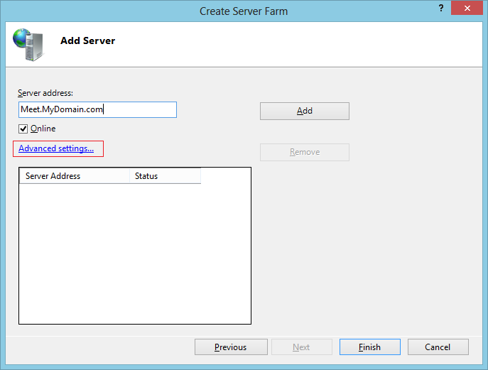 Add Server and advanced settings