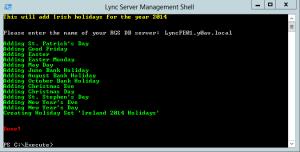 Lync Holidays Script 2