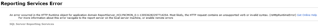 Reporting Services Error