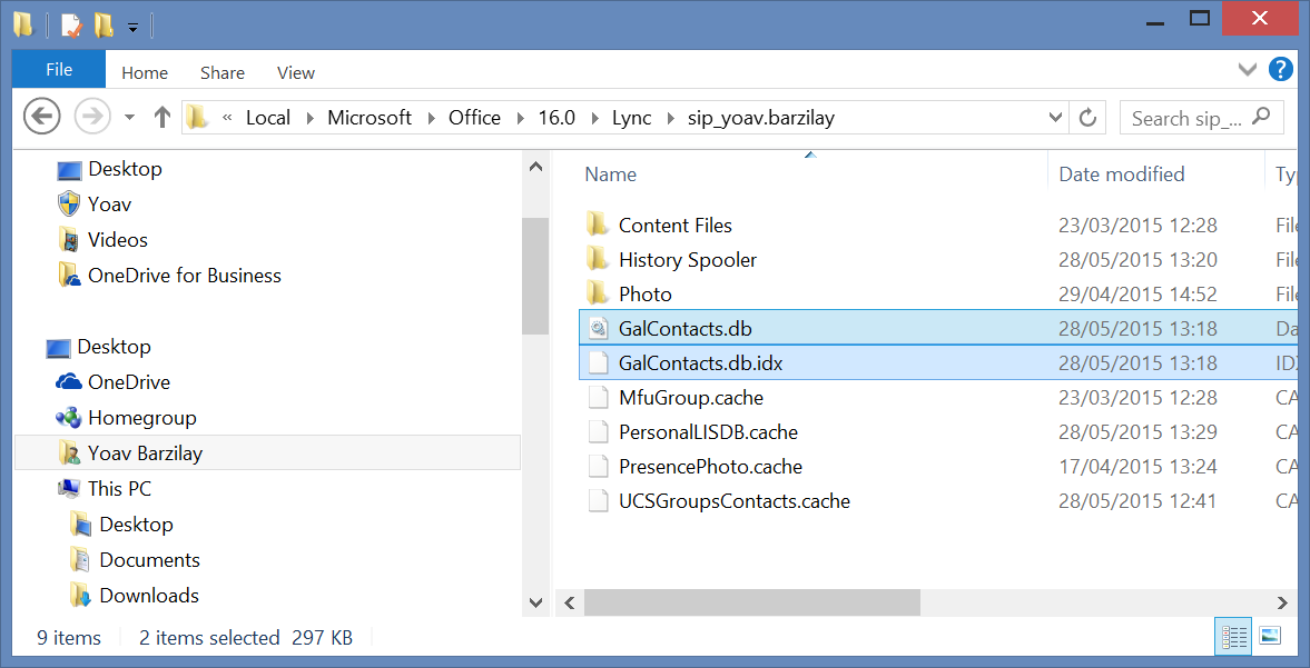 clear skype for business cache