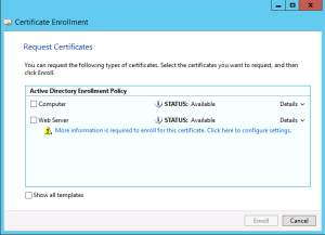 Request and enroll multi san certificates on windows server 2012 tick web server certificate box and click on the more information required link in the new window do the following yadclub Images